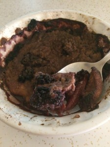 blackberry peach teff cobbler