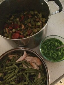 green bean pesto, chicken and okra soup, greek chicken